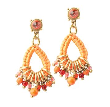 Exoal Ohrringe Charms Orange/Gold