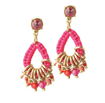 Exoal Ohrringe Charms Pink/Rot/Gold
