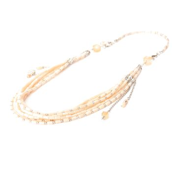 Exoal Collier Multiple Row Creme/Nude/Silber