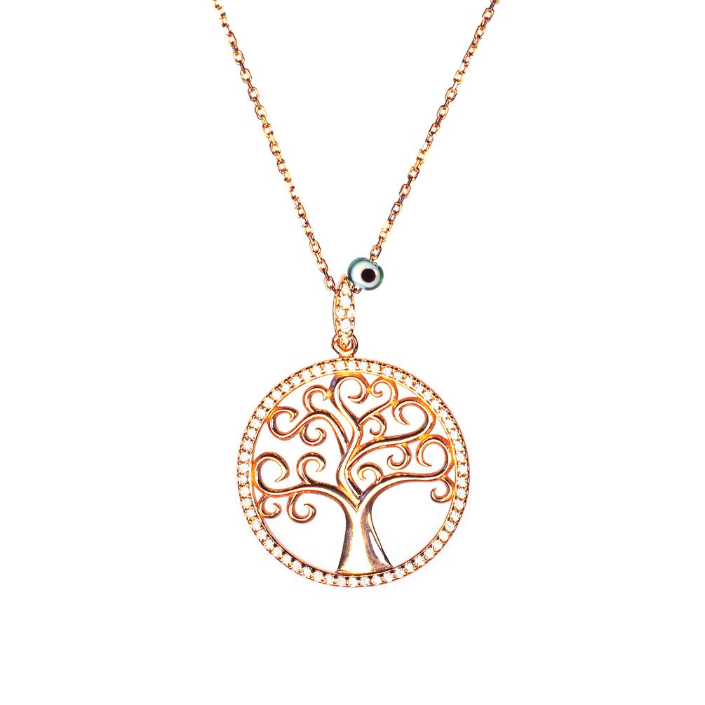 Perlenmarkt Onlineshop Kurshuni Halskette Baum Des Lebens Roségold