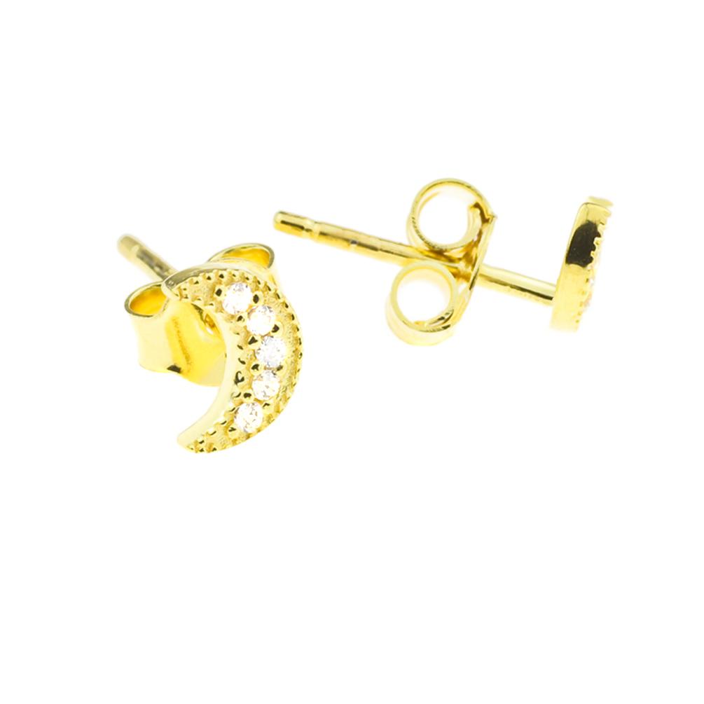 super günstig im vergleich zu geschickte Herstellung einzigartiger Stil Kurshuni Ohrstecker Mond klein Gold