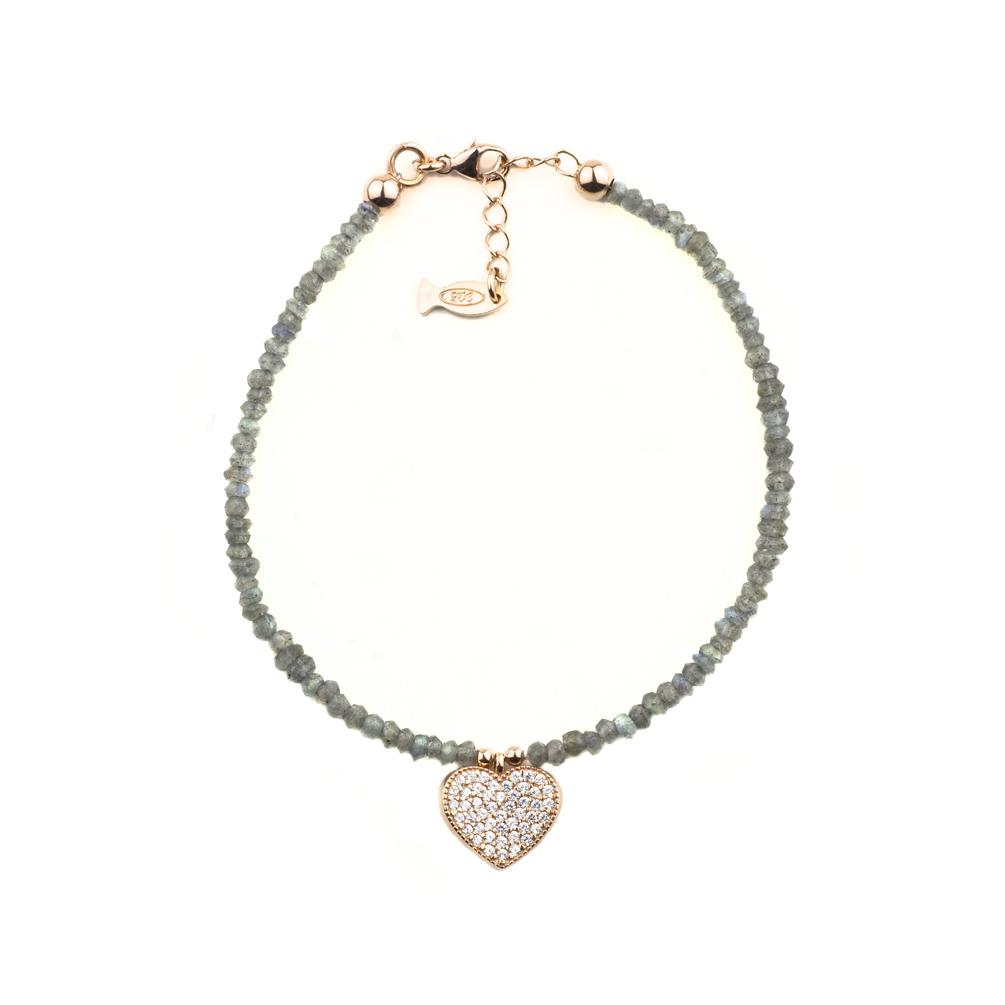 Wunderschönes Kurshuni Armband aus Labradorit mit bezauberndem  Herz-Anhänger aus Zirkonia und rosévergoldetem Sterling Silber 679dd77c73